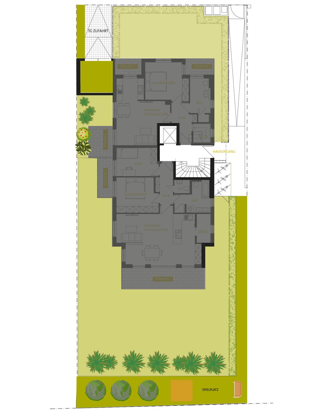 Grundriss Außenanlage ALLEE 43